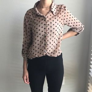 Tan and black polka a dot button up blouse